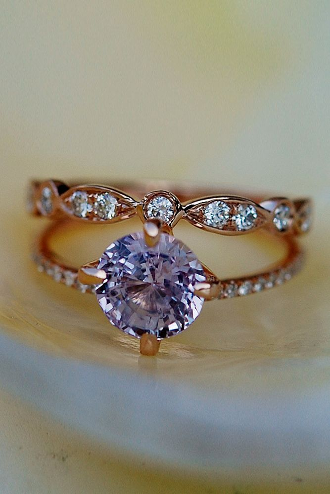Eidel Precious Sapphire Engagement Rings ❤️ Eidel Precious engagement rings round cut solitaire wedding set rose gold pave band ❤️ See more: http://www.weddingforward.com/eidel-precious-engagement-rings/ #weddingforward #wedding #bride
