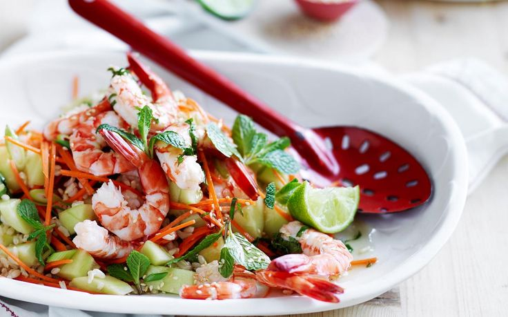 Prawn and brown rice salad recipe - By Australian Women's Weekly, Healthy and delicious dinner ideas have never been easier! Enjoy this tasty, wholesome prawn and brown rice salad, full of flavour the whole family will love!