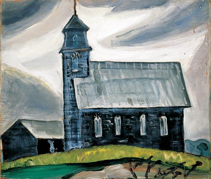 """""""Church at Athens, Ontario,"""" Prudence Heward, 1932, oil on plywood, 12 x 13.75"""", The Montreal Museum of Fine Arts."""
