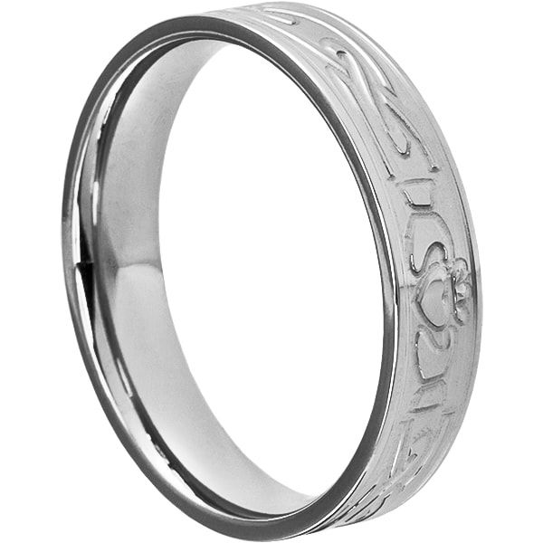 Legend Mens Irish Clatter Wedding Bands Carved 5mm Width. Legend is also available in a matching ring set. Celtic Knot Work Tungsten Wedding Band.