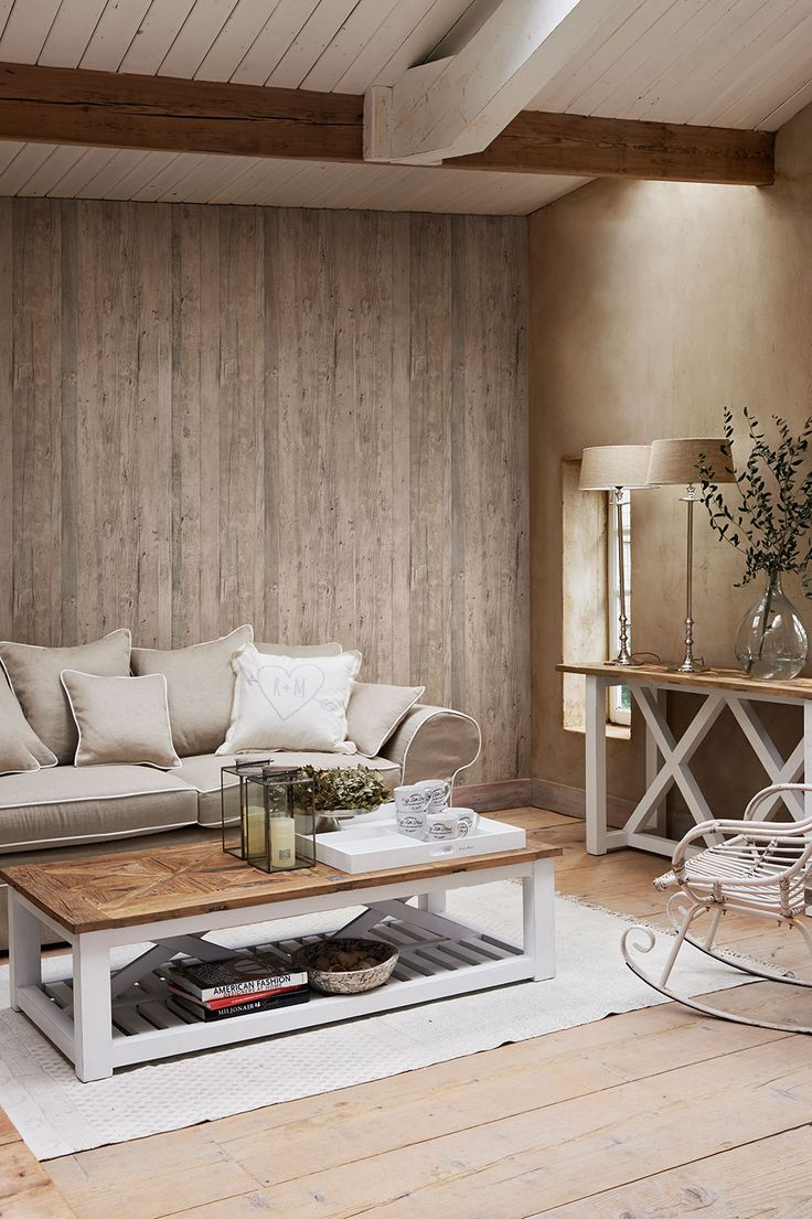 Such a warm and cosy space using driftwood effect wallpaper. Pattern 18291.