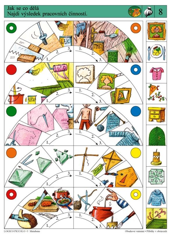 Soubor Logico Piccolo - Obsahové vnímání Příběhy v obrázcích - Soubor Logico Piccolo - Obsahové vnímání Určeno dětem od 5 - 8 let Soubor obsahuje 16 různých karet: * Předtím – potom –