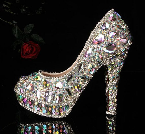 Luxury Heel Colorful Diamond Shoes Frost Closed Toes Heels  Bridal Heels Shoes