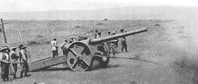 The Brits used 4.8 inch naval guns to outreach the Boer's Mauser rifles.