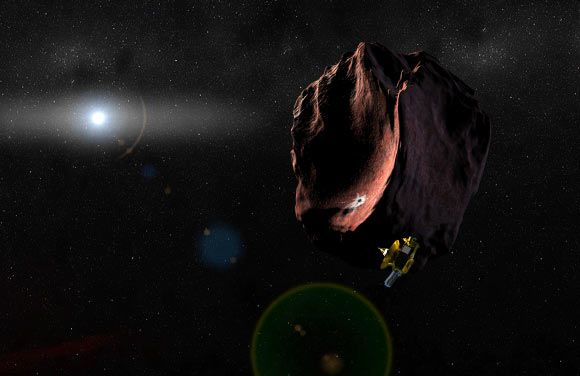 NASA's New Horizons robotic probe has received the green light to fly onward to the Kuiper Belt object (KBO) 2014 MU69. 2014 MU69, otherwise known as 1110113Y, is a relatively small KBO discovered in June 2014 by astronomers using the NASA/ ESA Hubble Space Telescope. Above: artist's impression of New Horizons encountering a massive object in the distant Kuiper Belt. Image credit: NASA / Johns Hopkins University Applied Physics Laboratory / Southwest Research Institute / Alex Parker.