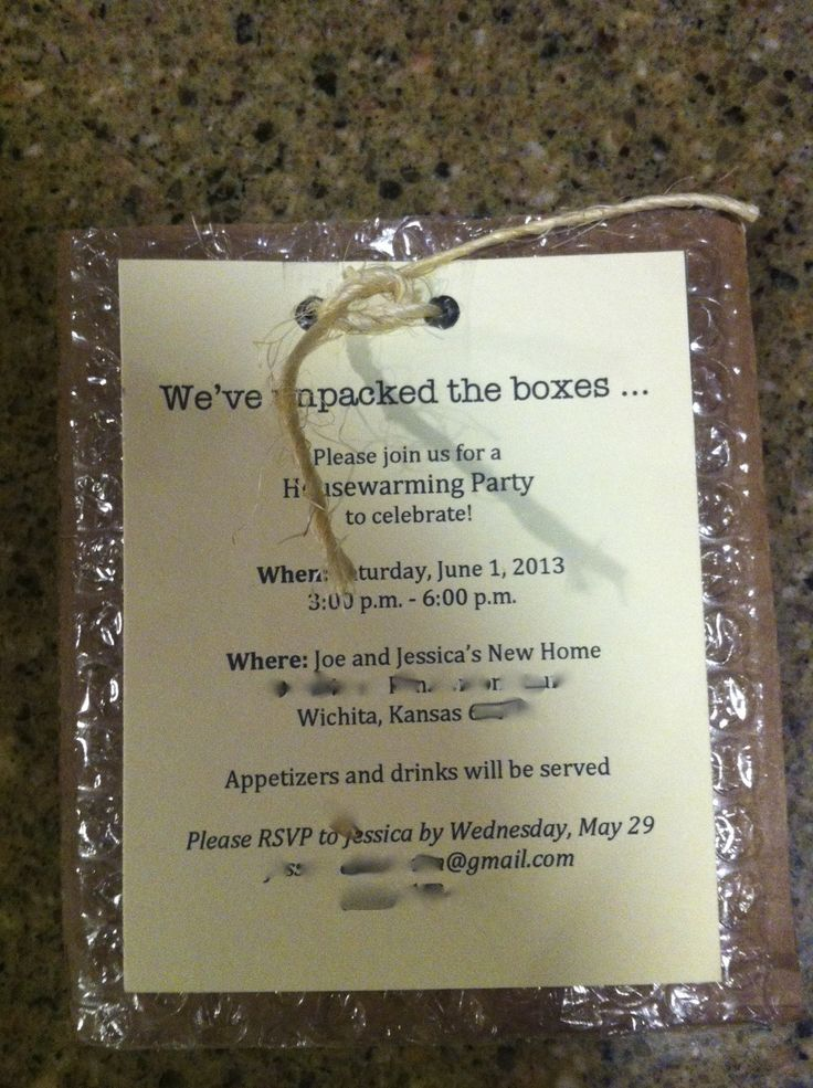 Our housewarming party invitation (with personal info blurred out)