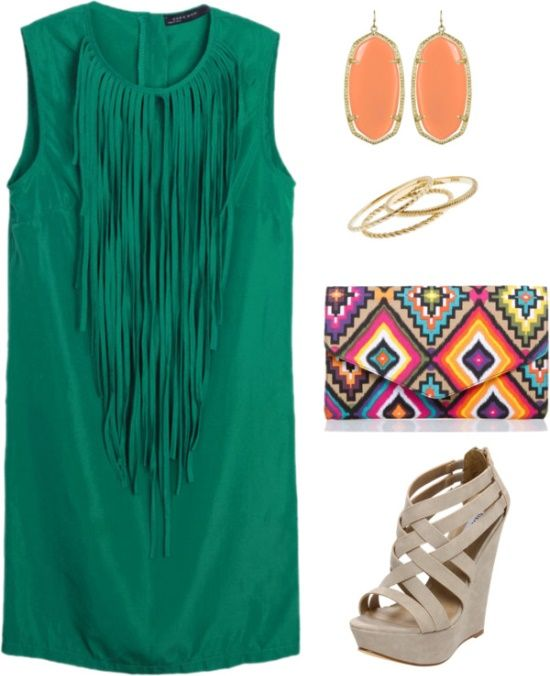Cute! cute!Dates Night Outfit, Tribal Clutches, Style, Fringes Dresses, Date Nights, Summer Nights, The Dresses, Dreams Closets, Green Dresses