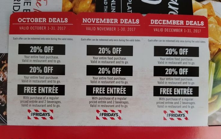 3 TGI Fridays Coupons October November December deals