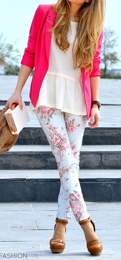 Peplum Blouse + Floral Skinnies