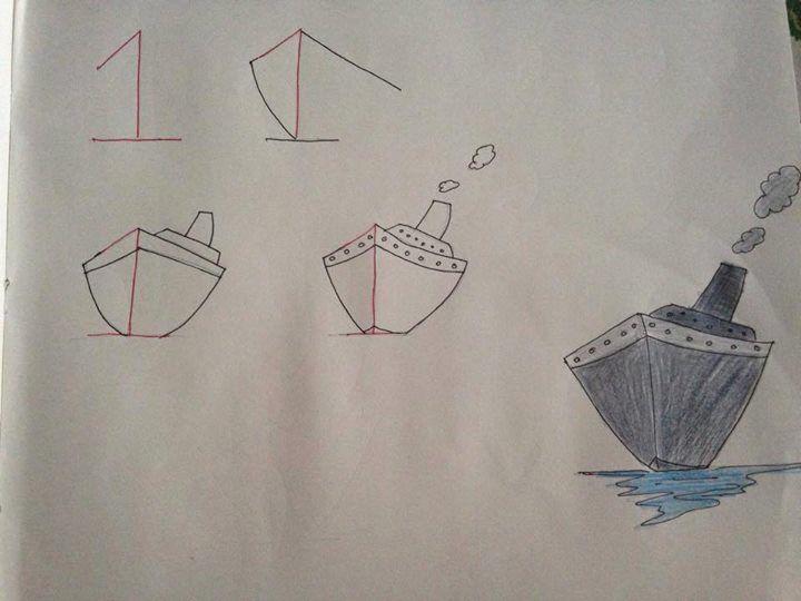 Tekenen met behulp van cijfers / boot stap voor stap tekenen / basisschool / groep 3 / groep 4 / groep 5