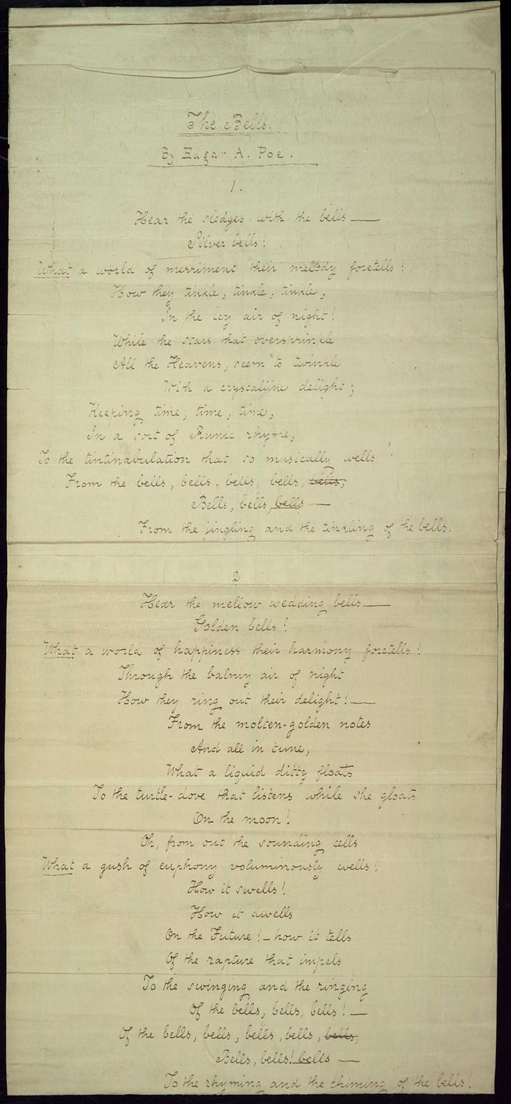an analysis of the poem the bells by edgar allan poe It is nearly fifty years since the death of edgar allan poe, and his writings are now   this had already made of coleridge a great poet, while to it poe owes the.