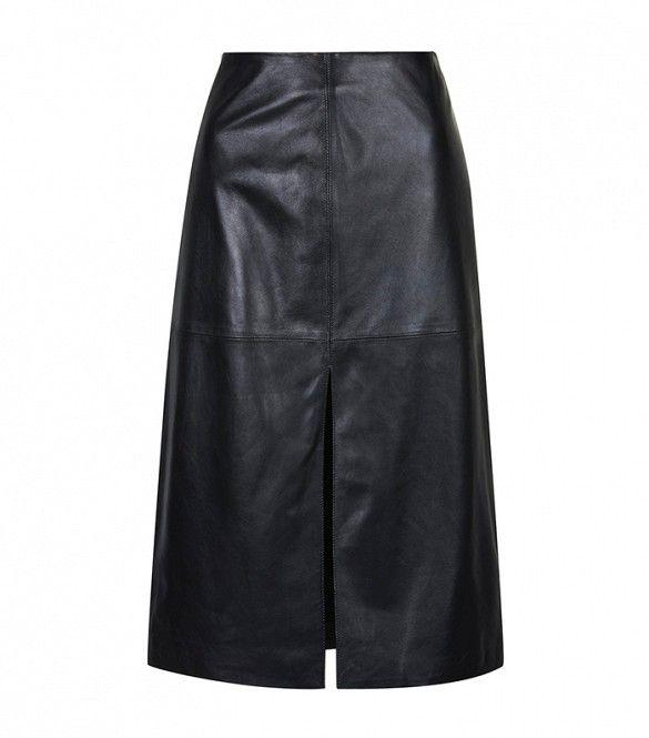 Topshop Leather Split Front Skirt in Black