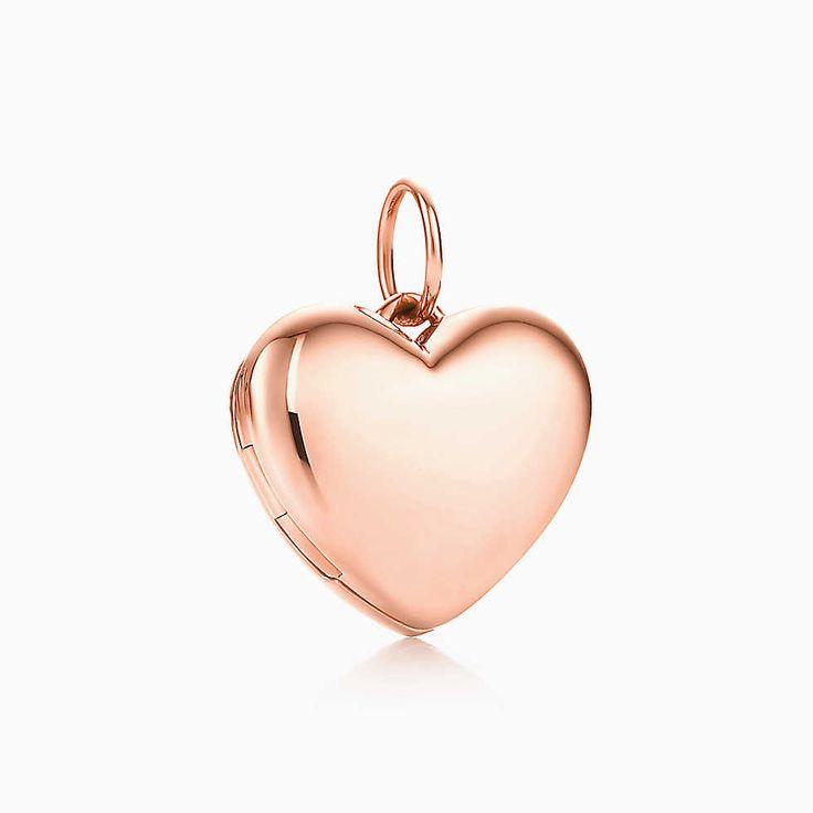 Medallón de corazón en oro rosa de 18k, pequeño.