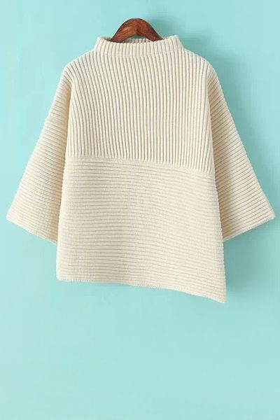 Stand-Up Collar Solid Color Asymmetrical Sweater