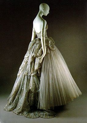 """Christian Dior, French 1905-1957,""""Venus"""" ball gown, embroidered gray silk net, Fall-Winter 1949"""