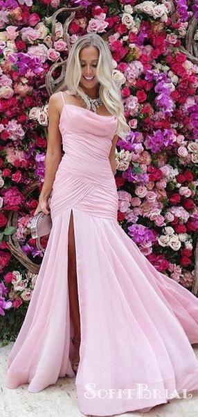 Sexy Spaghetti Strap Pink Chiffon Ruched Long Mermaid Prom Dresses, TYP0103