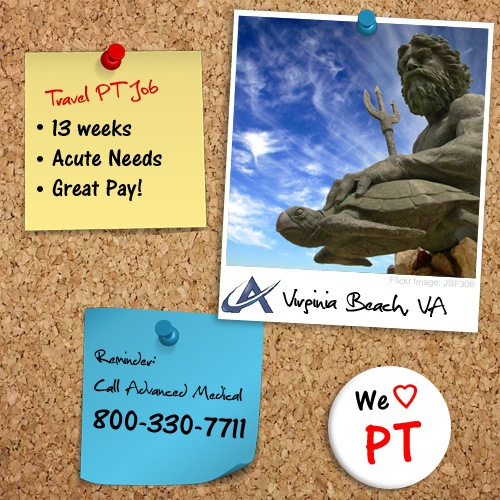 Relax at the beach, Virginia Beach. Take this 13 week travel physical therapy job at a acute needs facility in Virginia Beach, VA. Contact Advanced Medical, a physical therapy travel company, at (800) 330-7711 or visit http://www.advanced-medical.net: Therapy Jobs, Http Www Advanced Medical Net, 13 Week, Travel Company, Beach, Traveling Pt, Contact Advanced, Physical Therapy