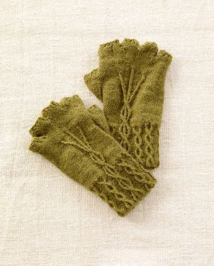 These fingerless gloves knit with Sock-Ease leave your fingers free for typing, writing, and best of all, yarn crafting!