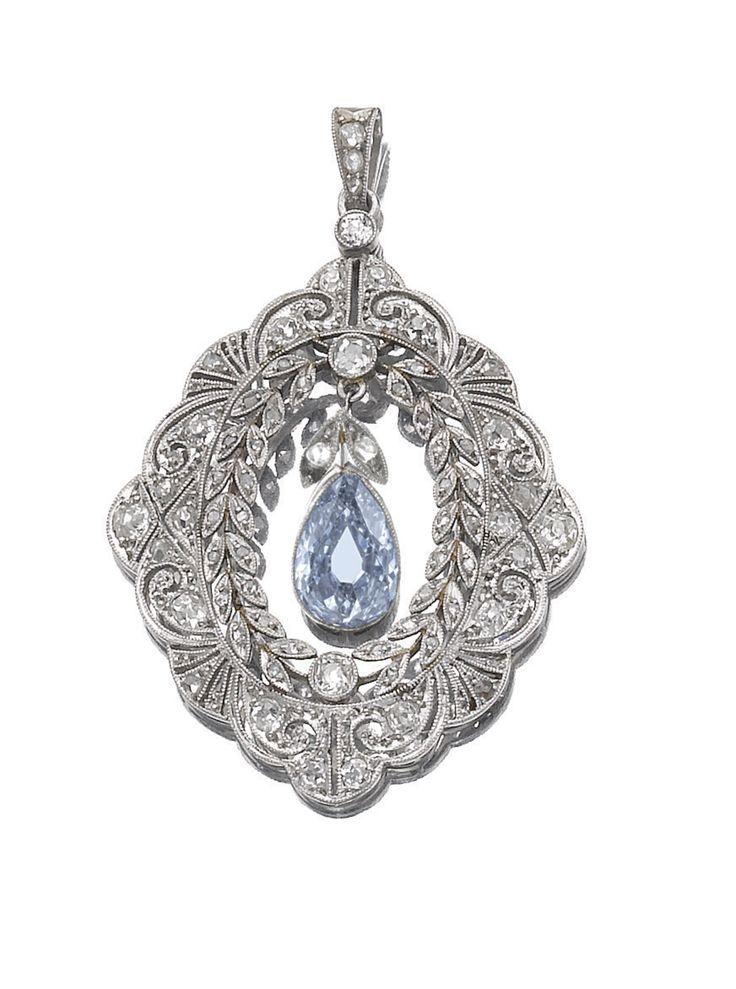 Belle Epoque Fancy Greyish Blue Diamond and Diamond Pendant, Circa 1910