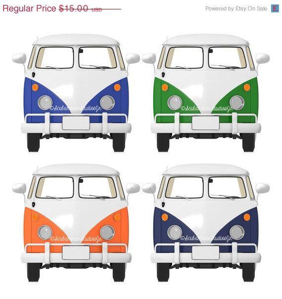 75% OFF THRU 5/9 retro clipart. VW Bus by ScubamouseStudiosJr