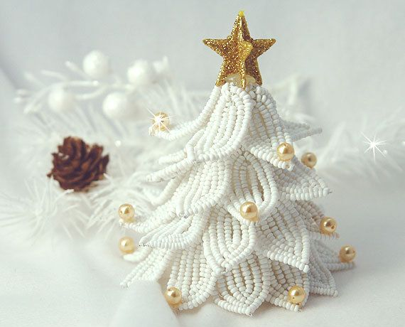 Mini White Christmas tree. by SoMeJewelryShop