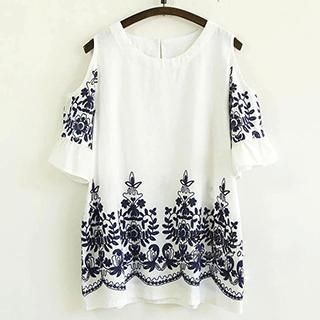 Buy 'Usagi – Cutout Elbow-Sleeve Embroidered Top' with Free International Shipping at YesStyle.com. Browse and shop for thousands of Asian fashion items from China and more!
