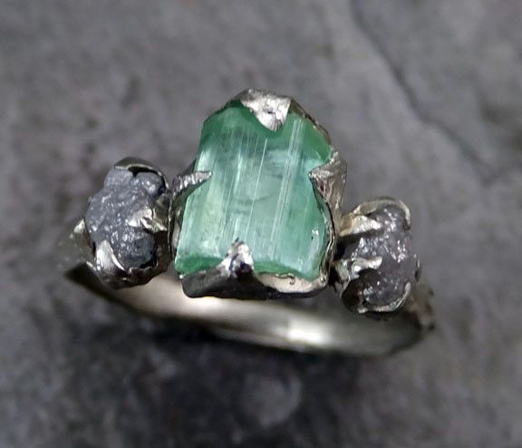 Elegant Raw sea green Tourmaline Diamond White Gold Engagement Ring Wedding Ring One Of a Kind Gemstone