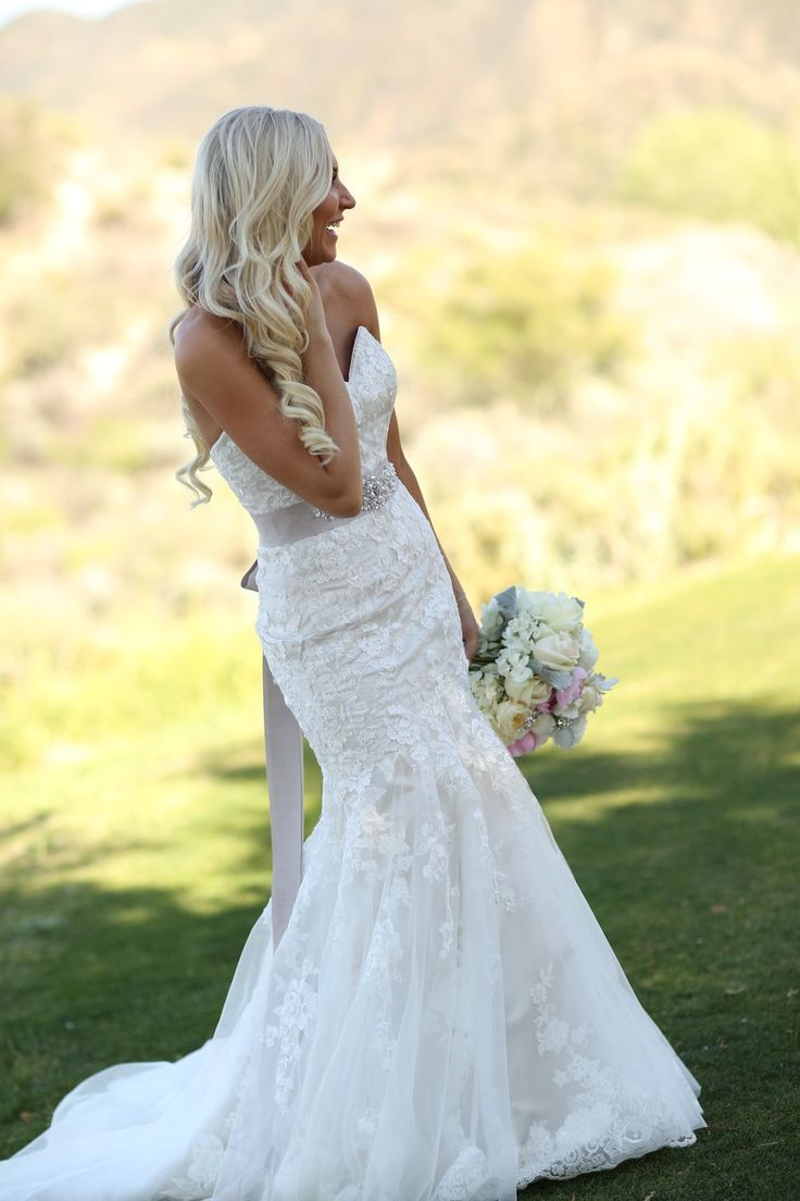 This dress is so beautiful! Love the Pale Pink sash and the lace mermaid dress!