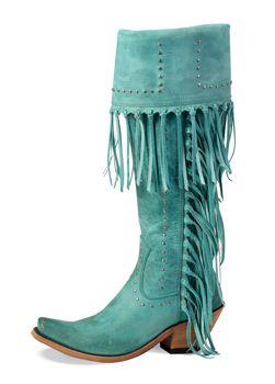 ➳➳➳☮American Hippie Bohemian Boho Bohéme Feathers Gypsy Spirit Bizu Baroque Tati Tati Style - Turquoise Fringe Boots