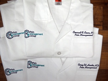 Embroidered Dickies medical scrubs. >>