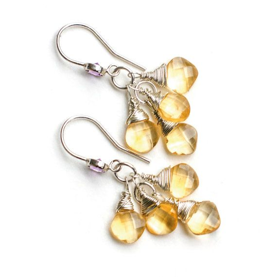 Silver Amethyst Citrine Dangle Earrings by Jeva Jewels on #Etsy #JevaJewels #handmadejewelry #swissmade