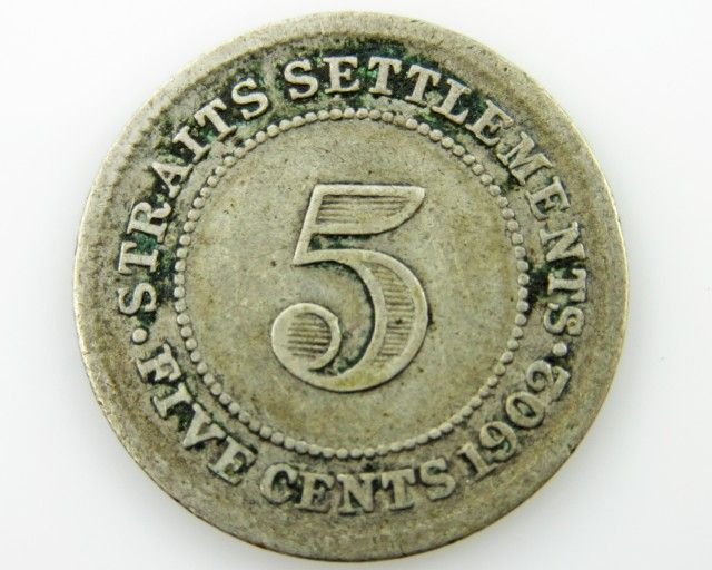 Straits Settlement 5 cents silver .600 coin CO 2051 colonial british coins, straits silver coins ,silver coins