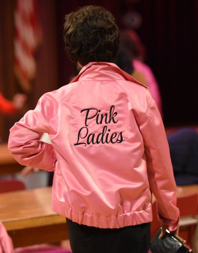 "Valentine Special Pink Ladies Jacket from movie ""Grease Live"", now made available at Angeljackets.com with discounted price."