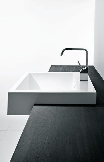 Minimalist Bathroom Modern White Vanity Sink And Wood Countertop Mastella Design