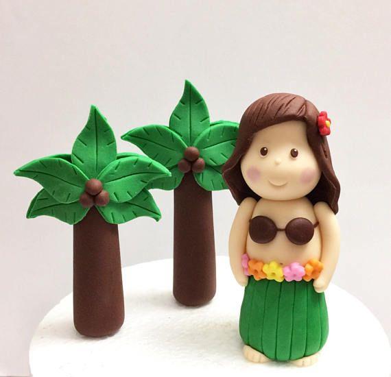 Fondant Luau Cake Topper Hula Girl Cake Topper Fondant Palm