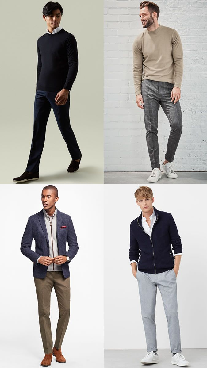Men S Crew Neck And Shirt Business Casual Outfit