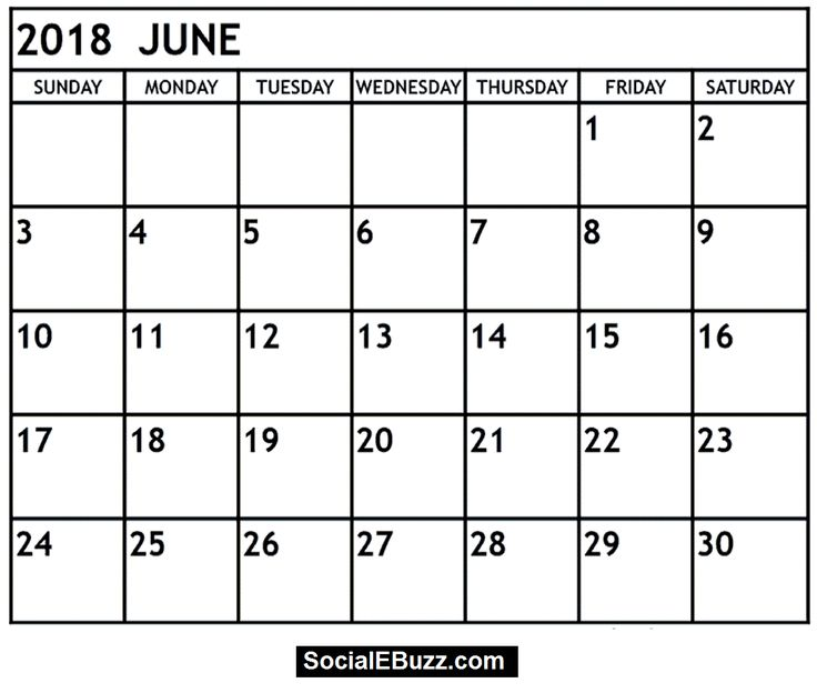 June 2018 Calendar Printable Template, June Calendar 2018, June - assessment calendar template