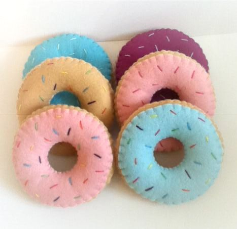 gorgeous felt food 6 donuts pincushion toys in a box by nicolaluke, $30.00