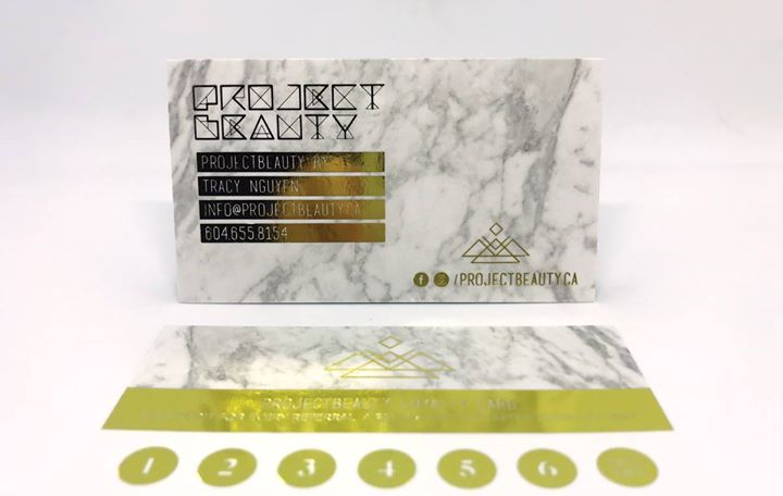Gold and marble opulence! Love 'em! Project Beauty created an incredible frequent buyer card on silk laminated card stock that contrasts beautifully with the dramatic gold foil stamping.