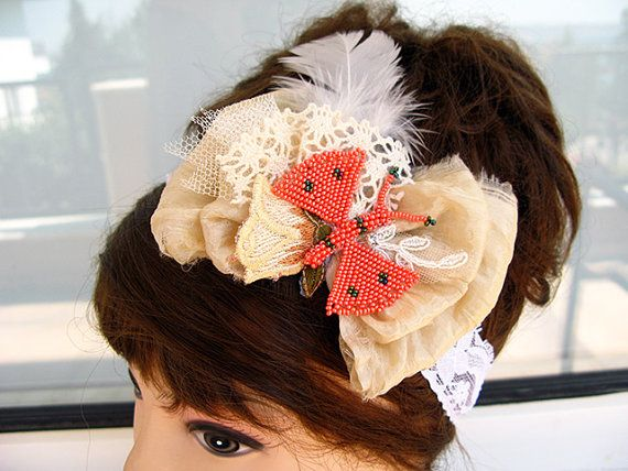 Elastic Lace headband Beige Silk Bow headband Wedding by nezoshop, $22.00