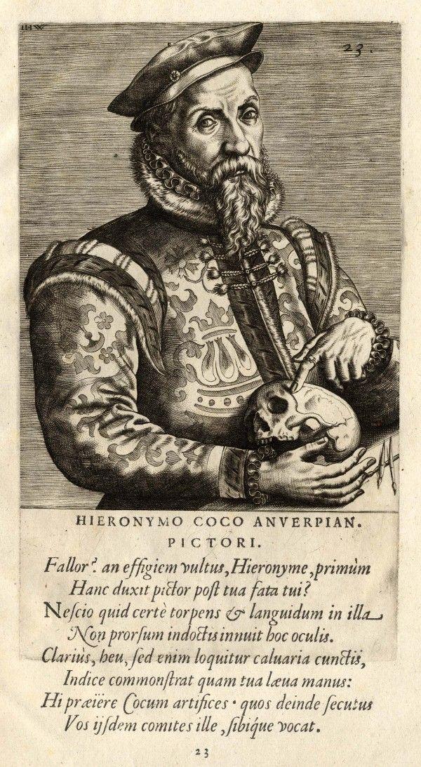 Hieronymus Cock, La gravure à la Renaissance à l'Institut Néerlandais : Johannes Wierix, Portrait de Hieronymus Cock, gravure, 20,4 x 11,2 cm. Bibliothèque royale de Belgique, Bruxelles.