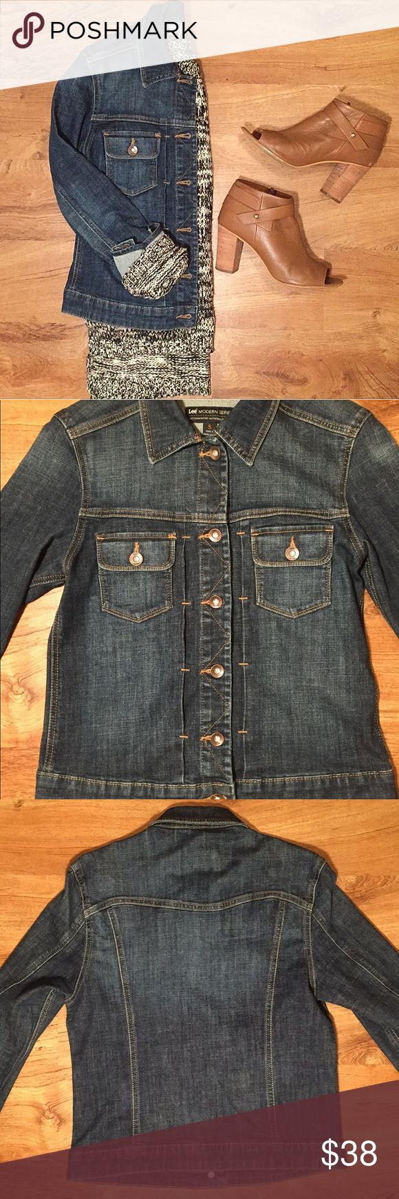 ▪️Lee▪️ Denim Jacket Lee Modern Series • Dark Denim Jacket • NWOT • A perfect staple piece!!  Measurements Laying Flat: Armpit to Armpit 17 in • Shoulder to Bottom 21 in • Inside Armpit to Bottom of Sleeve 17 in  Material: 64% Cotton • 19% Rayon • 16% Polyester • 1% Spandex Lee Jackets & Coats Jean Jackets