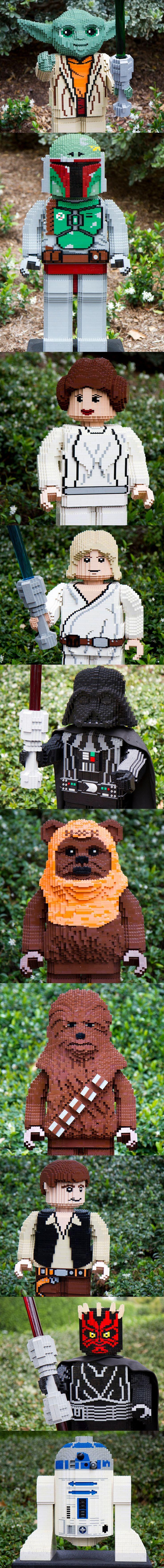 Yoda, Boba Fett, Leila, Luke Skywalker, Darth Vader, Ewok, Chewy, Han Solo, Darth Maul, R2D2 - LEGO