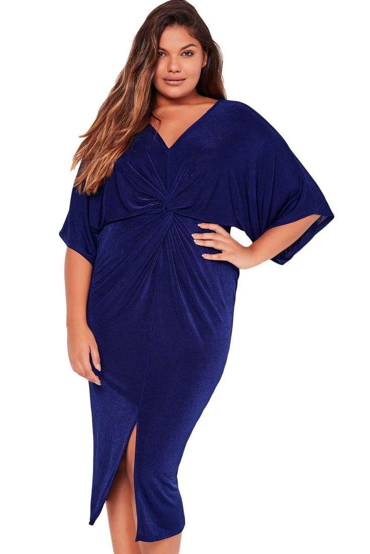 Robes Grandes Tailles Femme Manches Kimono Bleu Nouee Plisse Pas Cher www.modebuy.com @Modebuy #Modebuy #Bleu #style #me
