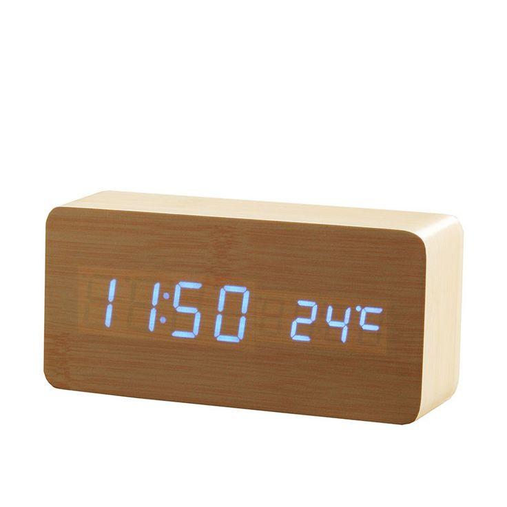 Wooden LED Alarm Clock+Time/date/temperature Digital Bamboo Wood Clock Voice Activated Table Clocks Reloj Despertador Wekker