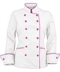 Chaqueta de chef tradicional para mujer - Vivo contrastante - Botones forrados en tela - 65/35 poliéster/algodón