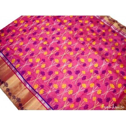Loomhouse Pure Pattu Silk Chanderi Saree (GP1185)