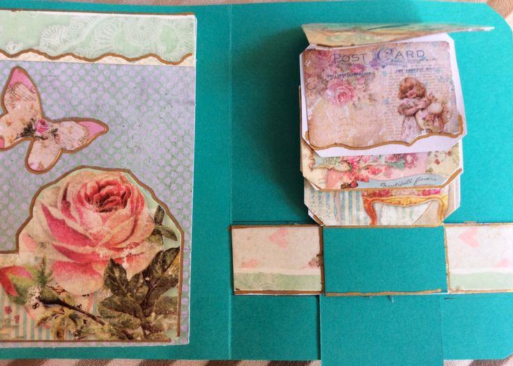Shabby chic waterfall card, inside, with flipping cards moving