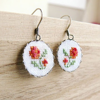 . Hand embroidered and cross stitched jewelry
