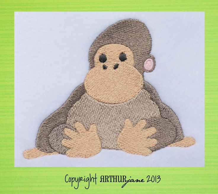Gorilla Zoo Animal INSTANT DOWNLOAD Embroidery by JustMariann